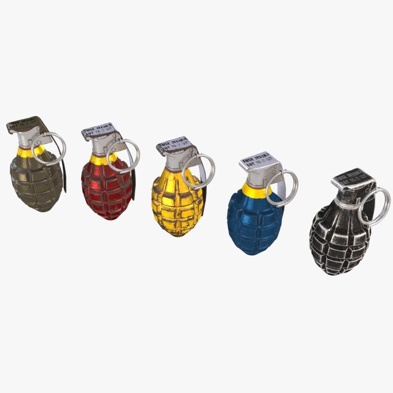 mk2 granade 3d max