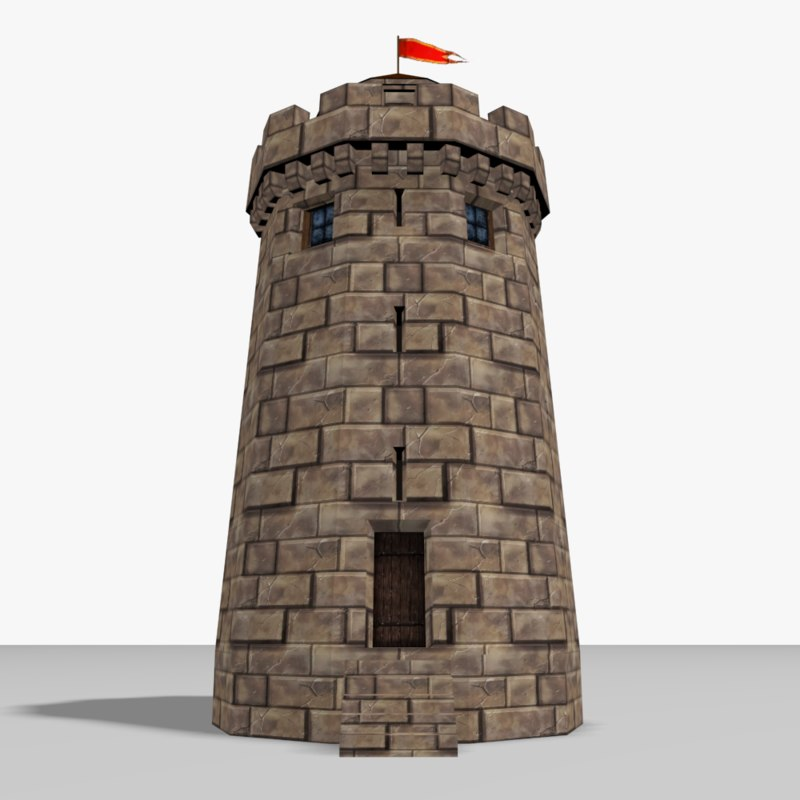 3ds medieval castle tower