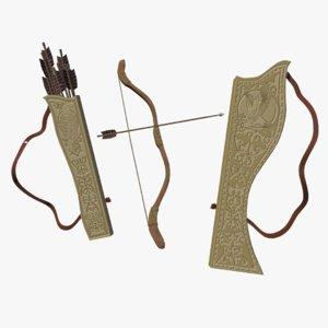 3d model quiver bow