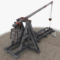 3d model trebuchet games modelled