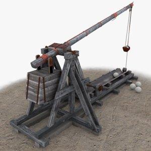 3d model trebuchet games modelled