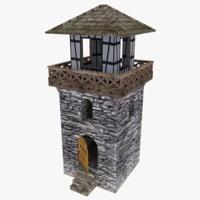 3d model tower medieval