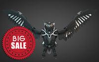 owl bubo robot 3d model