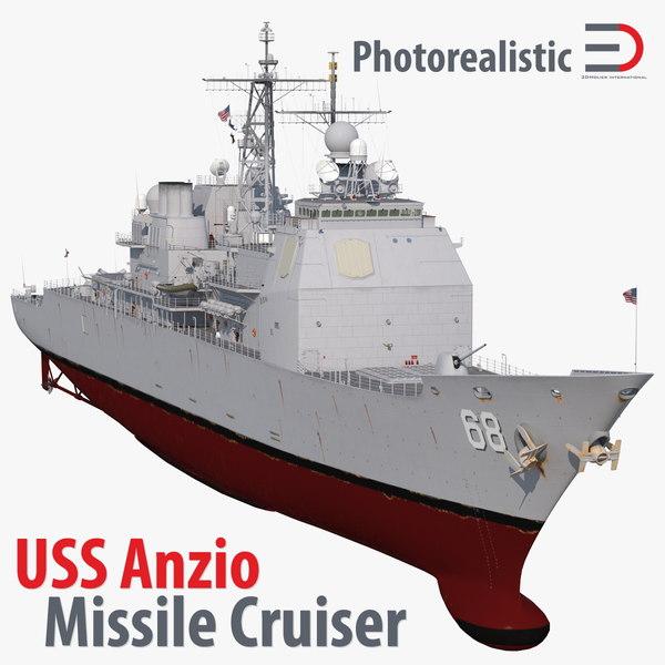 uss ticonderoga class cruiser 3d model