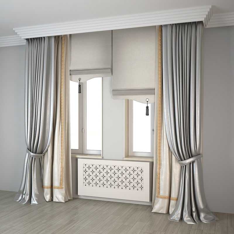 modern double curtains 3d max