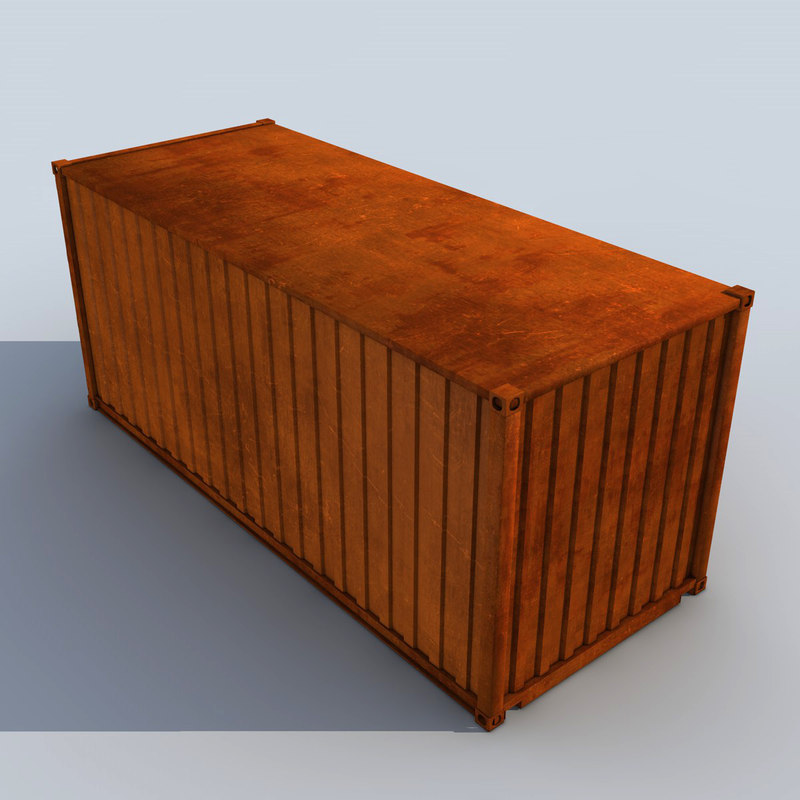 3d rusty cargo container model