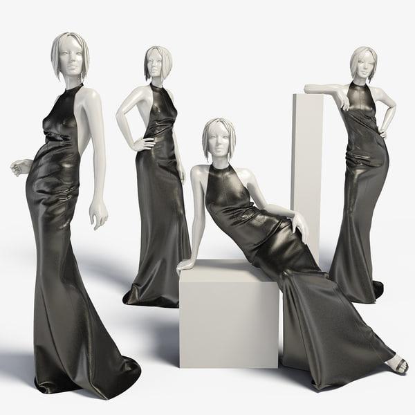 3d dress mannequin leather model