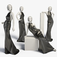 Woman mannequin Leather dress long