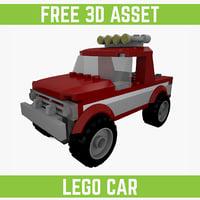 free lego car 3d model