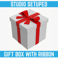 white gift box red 3d model