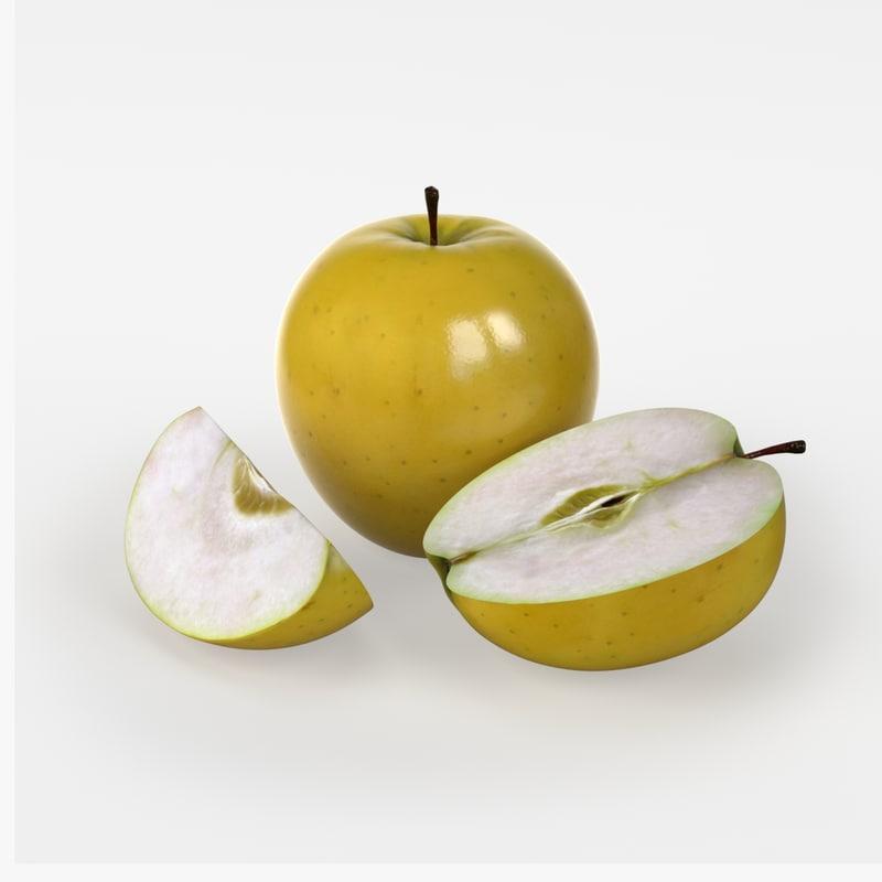 free photorealistic yellow apple fruit 3d model