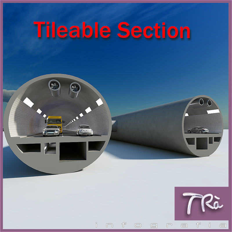 3d tunnel section model
