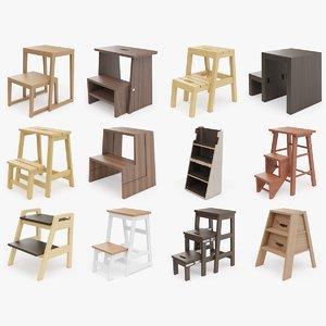 3d 12 step ladder stool