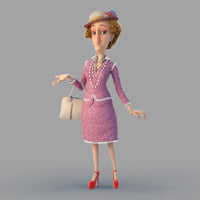 cartoon lady woman rigged 3d model