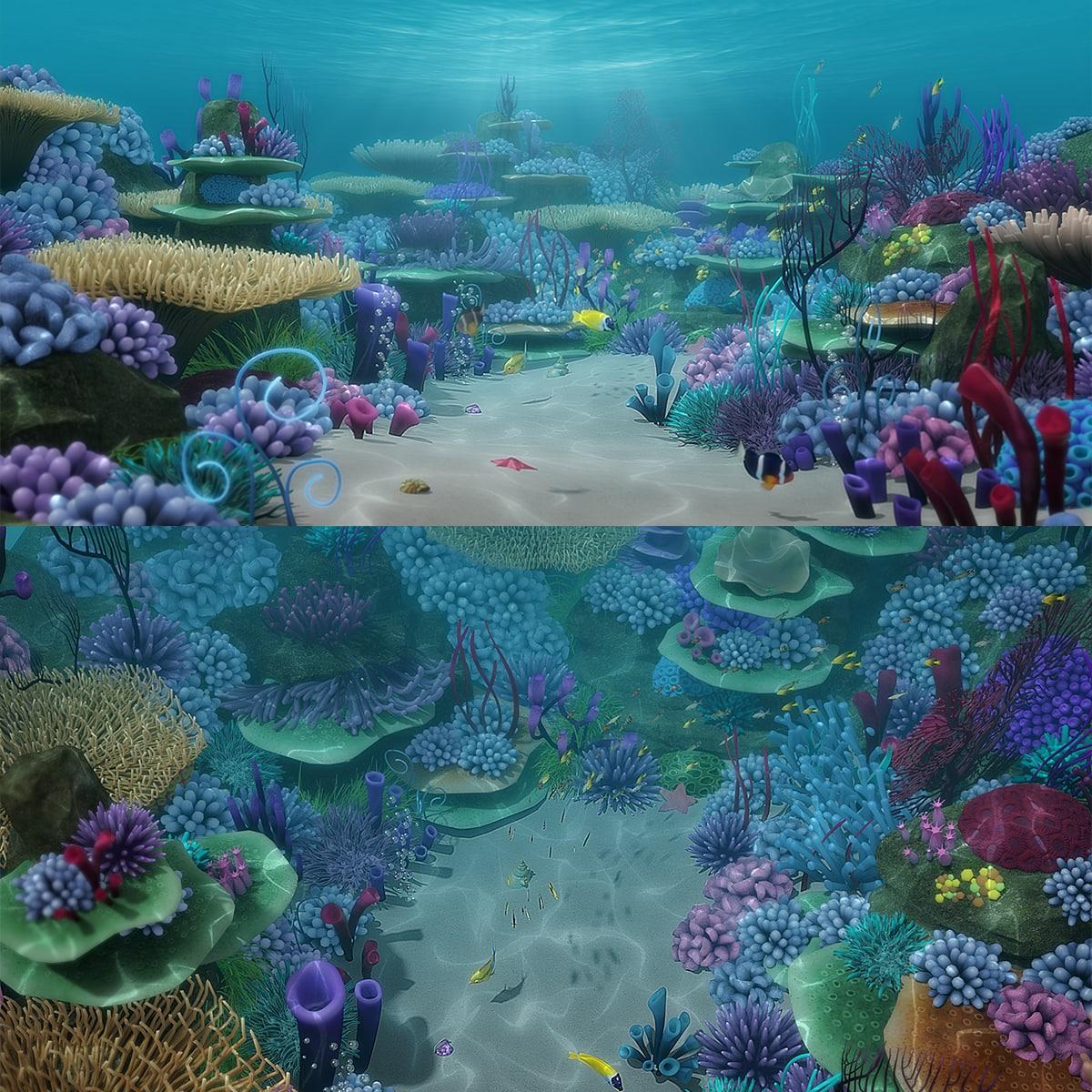 3d model of cartoon underwater scene