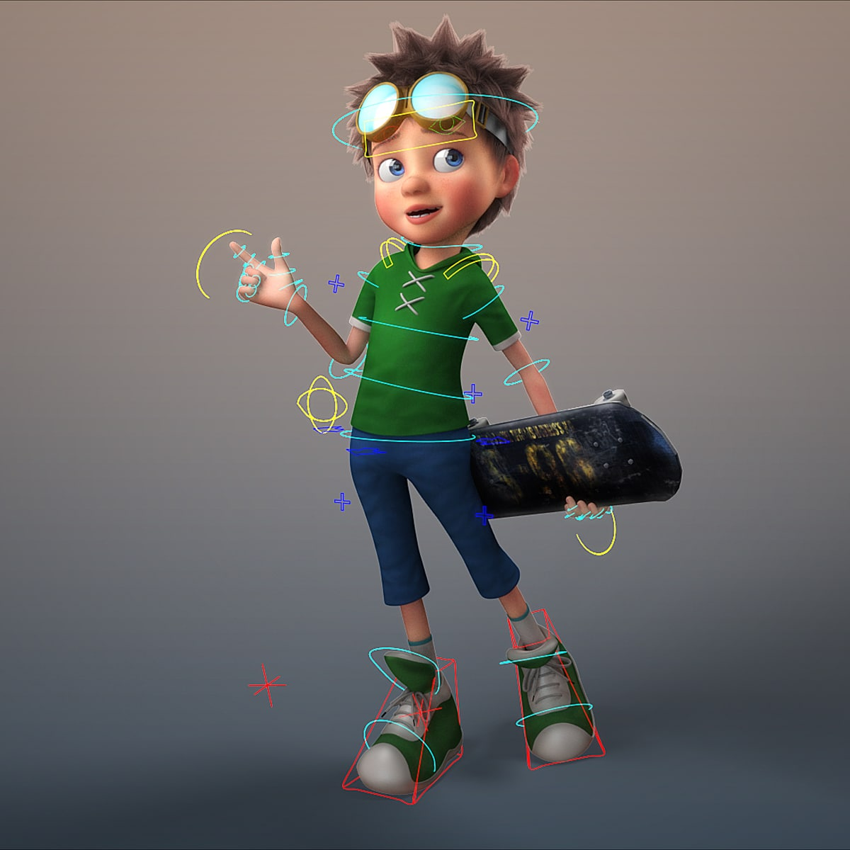 Cartoon Characters 3d Model : Obj cartoon boy rigged