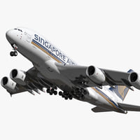 Airbus A380-800 Singapore Airlines Rigged 3D Model
