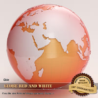 globe red white 3d max