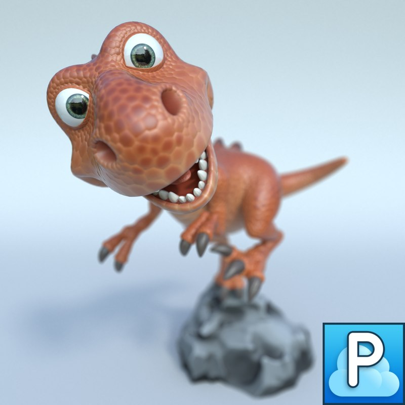 t-rex cartoon 3d obj