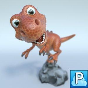 t-rex cartoon 3d obj