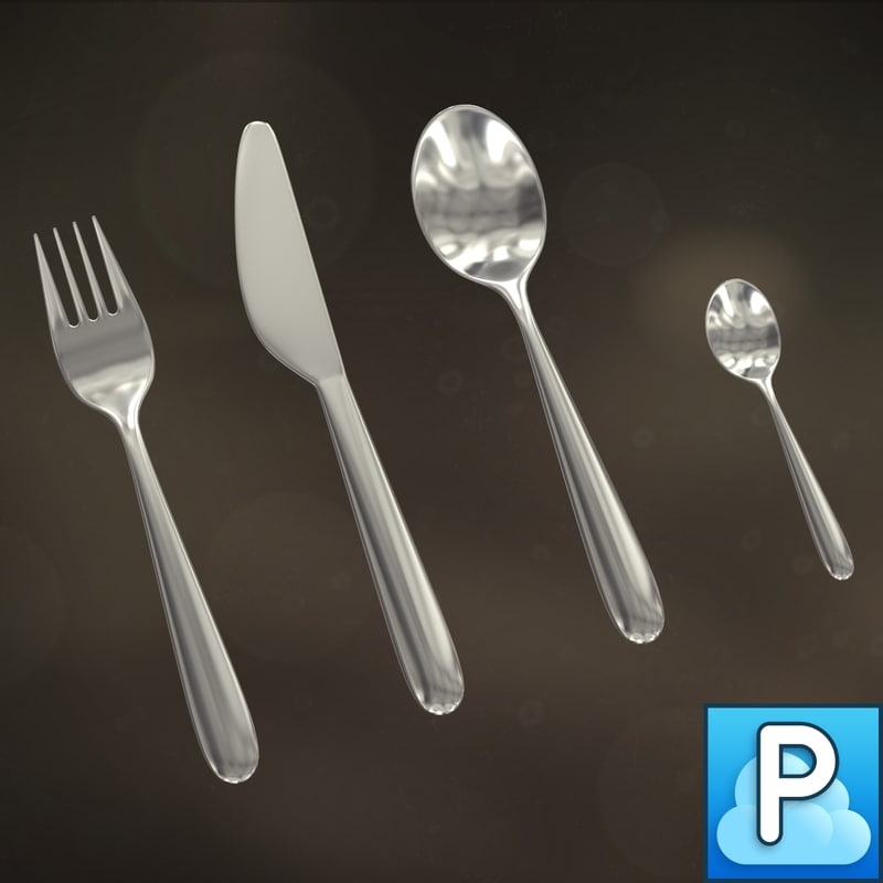 3d silverware fork knife model