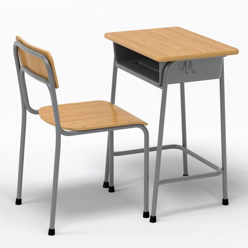 School Desk Chair Wood 3d Model, Wooden School Desk And Chair