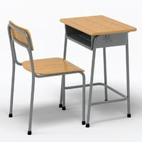 School Desk Chair Wood 3d Model