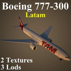 3d boeing 777-300 tam