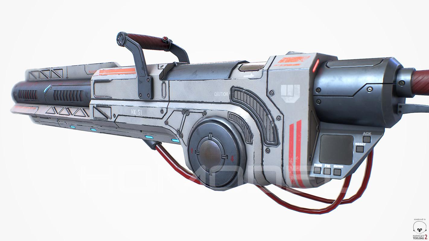 3d heavy laser cannon gun