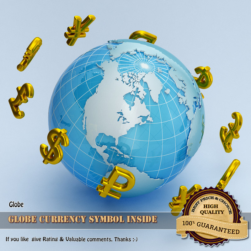 3d model globe currency symbol