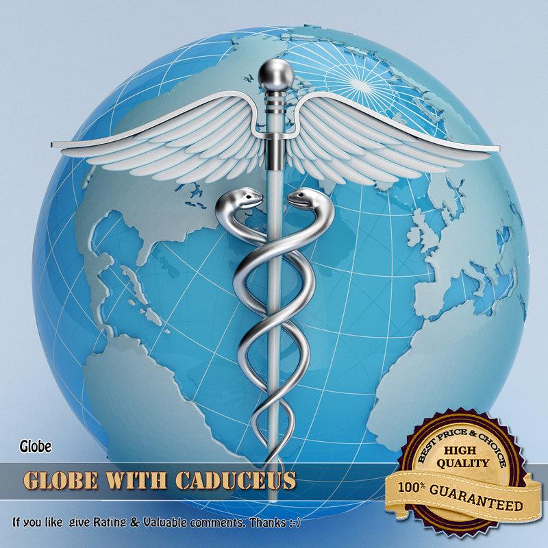globe caduceus 3d model