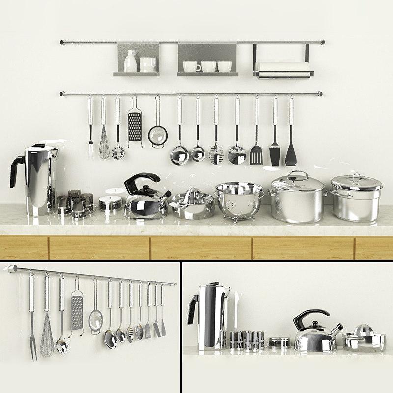 3d utensils pans teapots set