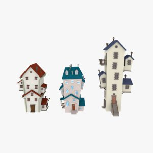low-poly cartoon houses 3d 3ds
