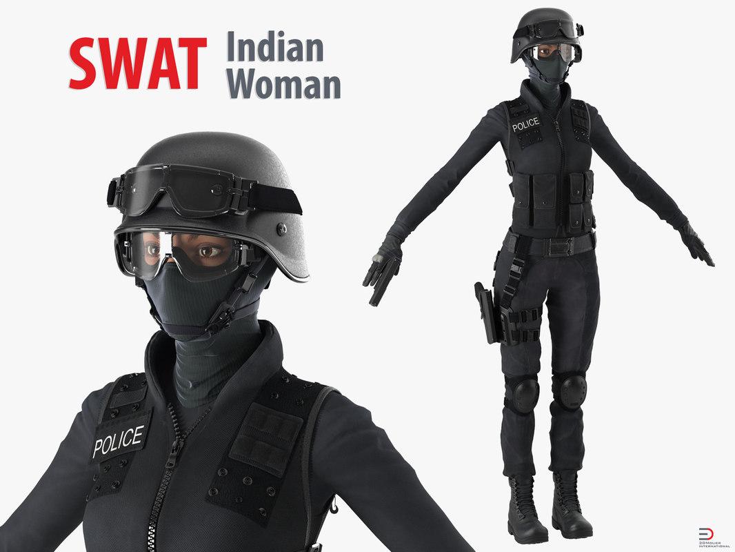 swat indian woman 3d model