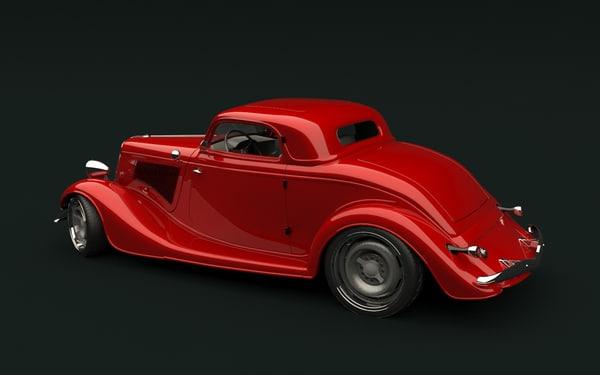 customized 1934 hot rod 3d model