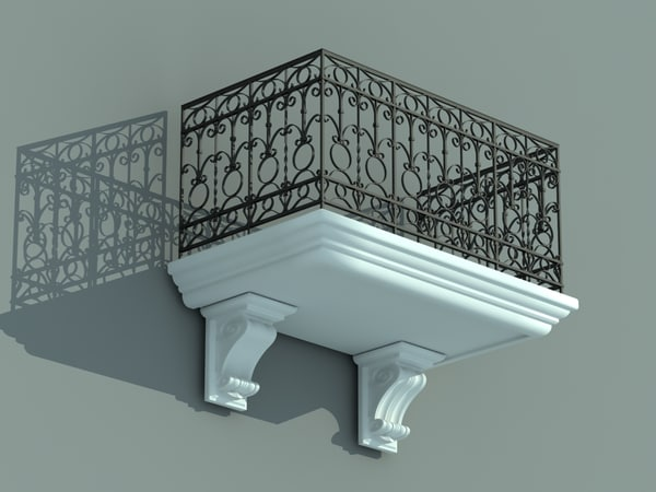 3d balcony iron fence model