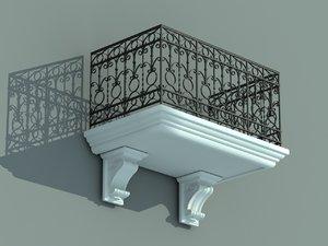 3d balcony iron fence model