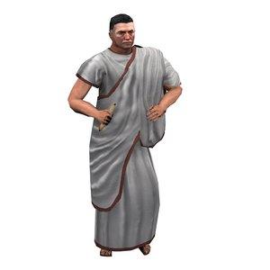 roman diplomat character walk 3d 3ds