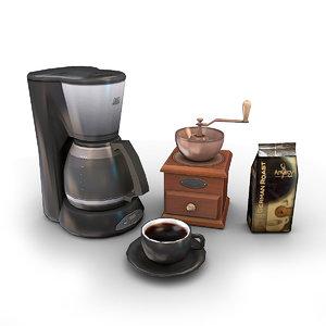 3d model coffeemaker pack coffee grinder