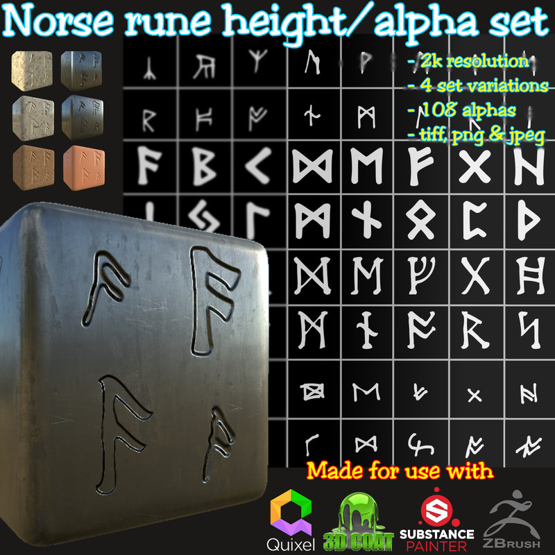 Ancient Norse Rune Height/Alpha Brushes/Stamps Set
