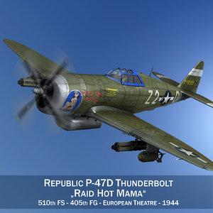 3d republic p-47 thunderbolt fighter aircraft model