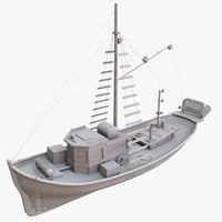 3d model boat wood wooden
