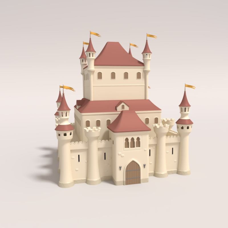 cartoon castle 3d obj
