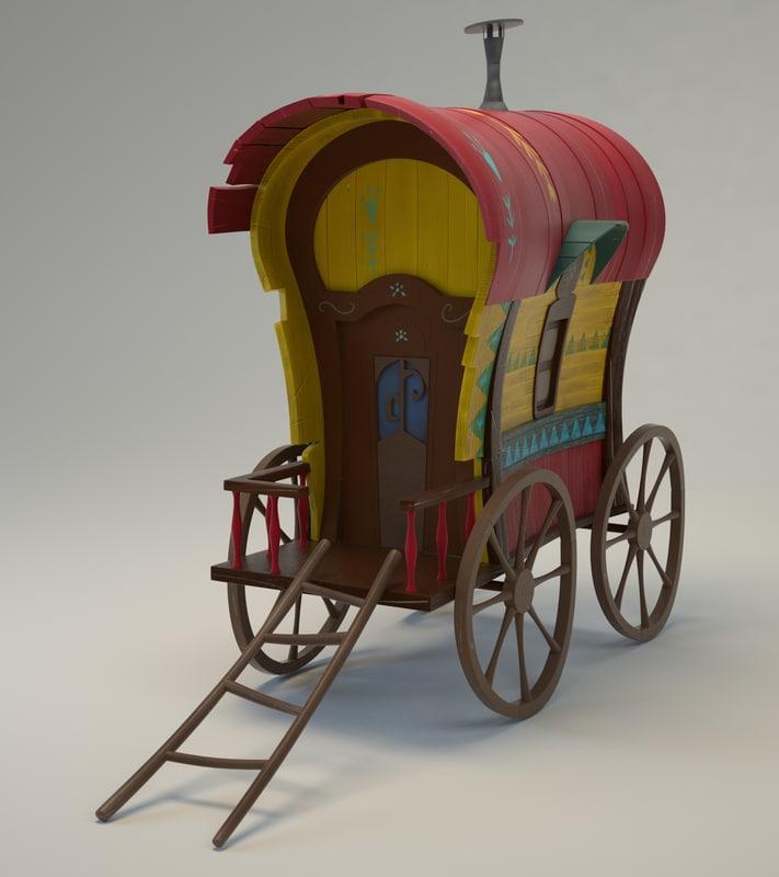 cartoon cart house 3d model