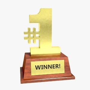 3d number trophy model