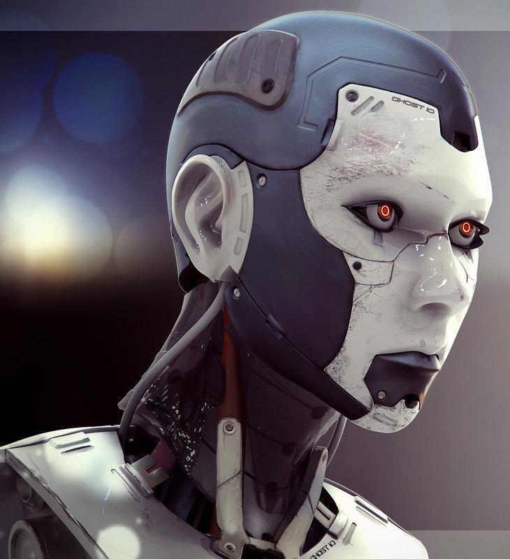 female cyborg head 3ds