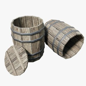3d model wooden barrel