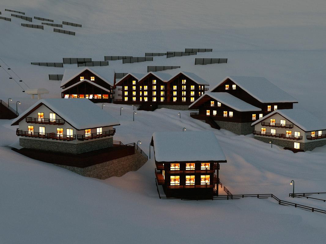 ski town scene 3d model