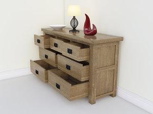 rustic oak drawer chest 3d max