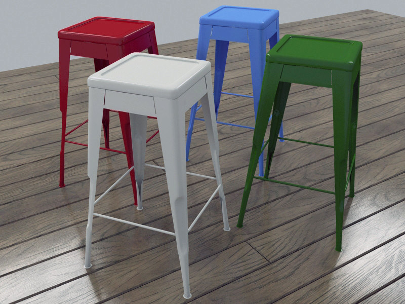 3d model classic metal stool